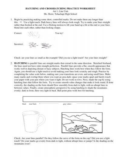 hatching and crosshatching practice worksheet art. Black Bedroom Furniture Sets. Home Design Ideas