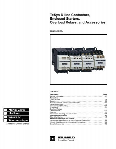 Tesys d line contactors enclosed starters overload for Schneider motor starter selection guide