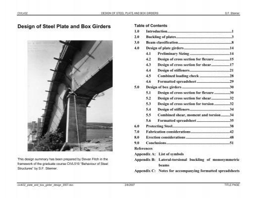 Design of Steel Plate and Box Girders - sigi ca