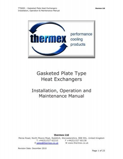 Gasketed Plate Heat Exchangers Installation Operation Manual