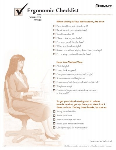 performance oriented ergonomic checklist for computer