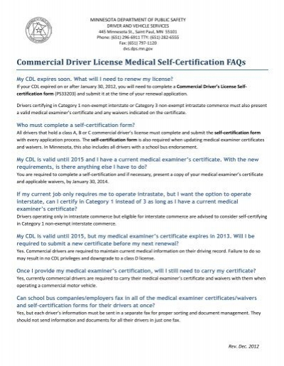 Commercial Driver License Medical Self-certification Form