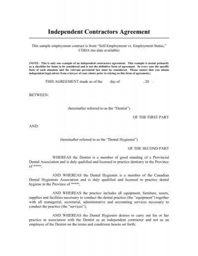 Sample Self Employment Contract CDHA – Dentist Employment Agreement