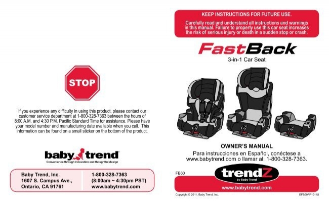 FB60070 3 In 1 Car Seat