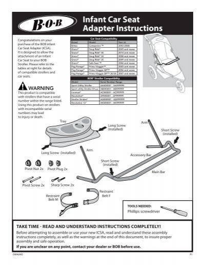 Infant Car Seat Adapter Instructions - BOB Trailers and ...