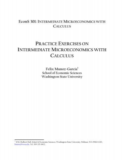 Practice Exercises In Intermediate Microeconomics Washington