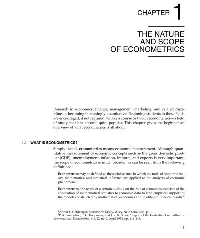 Chapter 1 The Nature And Scope Of Econometrics