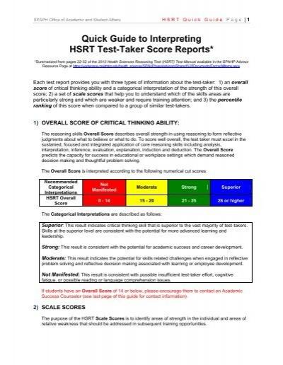 hsrt critical thinking test