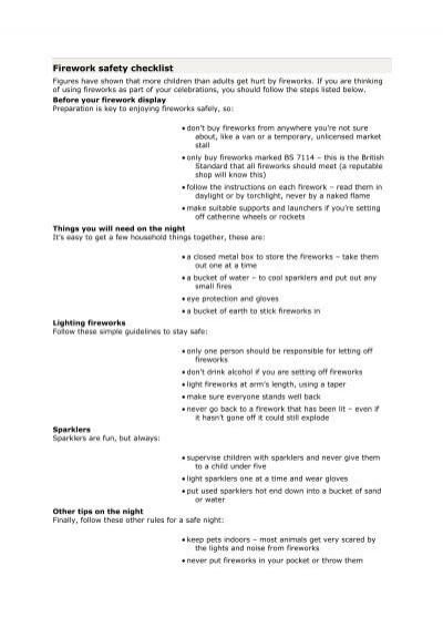 firework safety checklist pdf 26kb