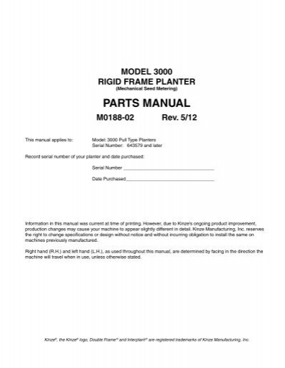 Parts Manual Kinze Manufacturing Inc
