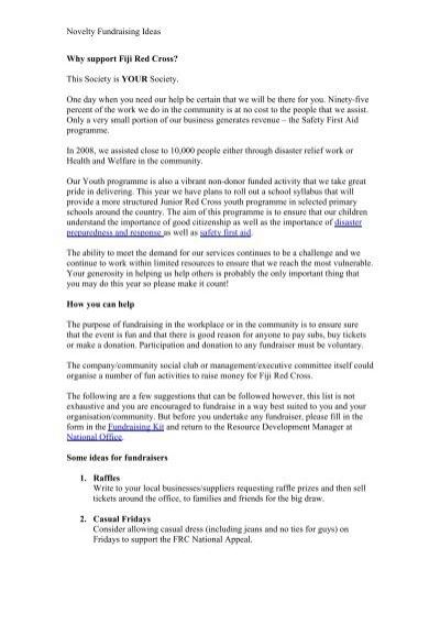 Novelty Fundraising Ideas - Red Cross Society