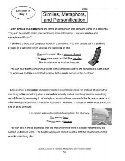 100 simile and metaphor worksheet 6th grade simile vs metaphor lesson plan education com. Black Bedroom Furniture Sets. Home Design Ideas