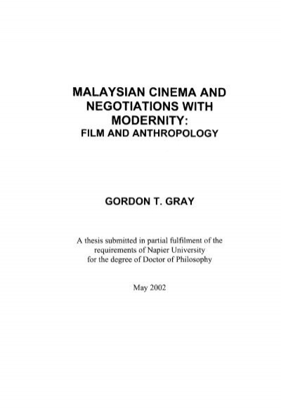 Malaysian Cinema And Negotiations With Modernity