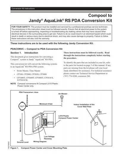 Compool to Jandy® AquaLink® RS PDA ... - INYOPools.com on