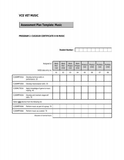 2012 VCE VET Music   Assessment Plan   Template U0026 Sample