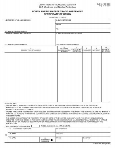 North American Free Trade Agreement Certificate Of Origin Forms