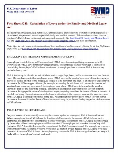 Fact Sheet 28i Calculation Of Leave Under The Family And Medical