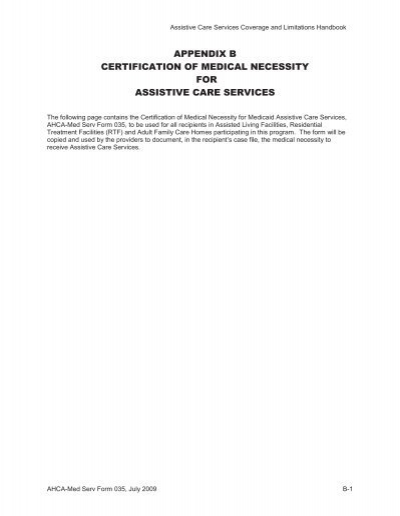 Form   Certification Of Medical Necessity  Agency For Health