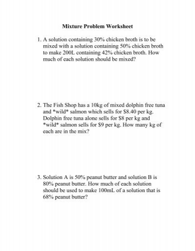 Mixture Problem Worksheet 1  A Solution Containing 30  Chicken