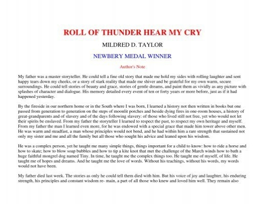 roll of thunder hear my cry 7 essay Roll of thunder hear my cry - essays: over 180,000 roll of thunder hear my cry - essays, roll of thunder hear my cry - term papers, roll of thunder hear my cry - research paper, book reports 184 990 essays, term and research papers available for unlimited access.