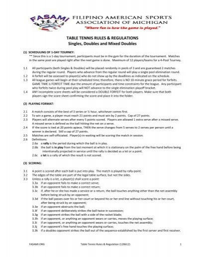 Table tennis rules regulations singles doubles and for Table tennis serving rules