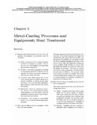 Chapter 5 Metal-Casting Processes and Equipment