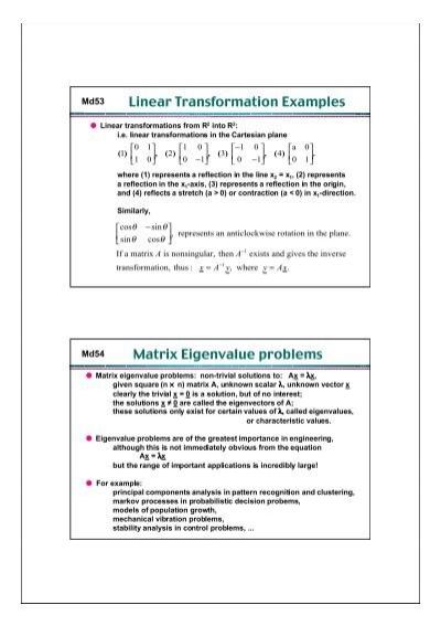 Linear Transformation Examples Matrix Eigenvalue Problems