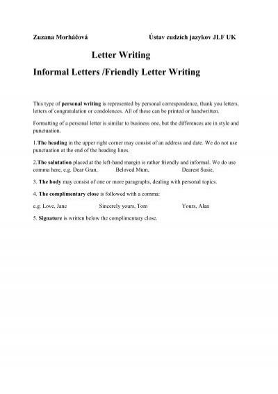 Letter Writing Informal Letters Friendly Letter Writing