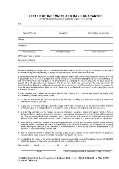 Letter of indemnity and bank guarantee hapag lloyd altavistaventures Gallery