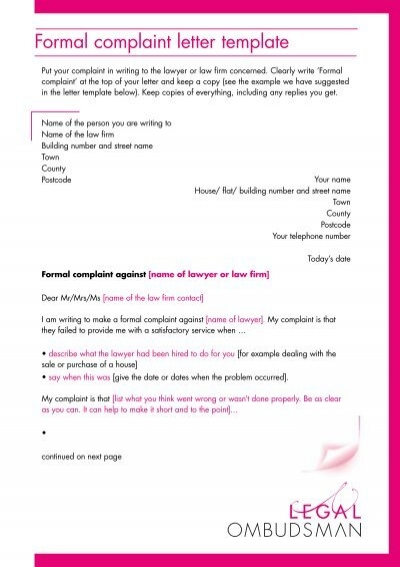 Letter Of Complaint Templates from www.yumpu.com