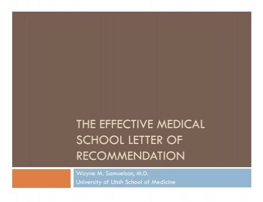 Letter Of Recommendation For School: The Effective Medical School Letter Of Recommendation