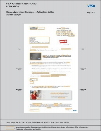 Visa business credit card staples activation letter package colourmoves