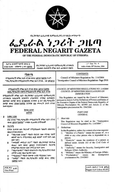 Immigration Council of Ministers Regulation No  114-2004