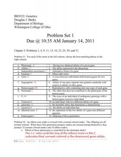 Problem set 1 answer key - Wilmington College