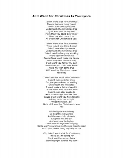 All I Want For Christmas Is You Lyrics - North Allegheny School District