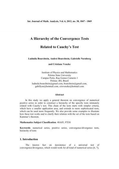 A Hierarchy of the Convergence Tests Related to Cauchy's Test