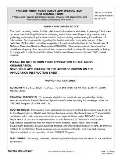 DD Form 2877, TRICARE Prime Disenrollment Request - Humana ...