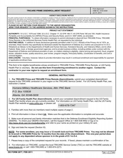 Dd Form 2877 Tricare Prime Disenrollment Request Humana