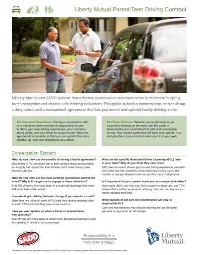 Parent Teen Contract >> Liberty Mutual Parent-Teen Driving Contract