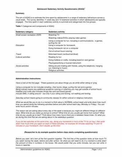 Adolescent sedentary activity questionnaire asaq acaorn malvernweather Gallery