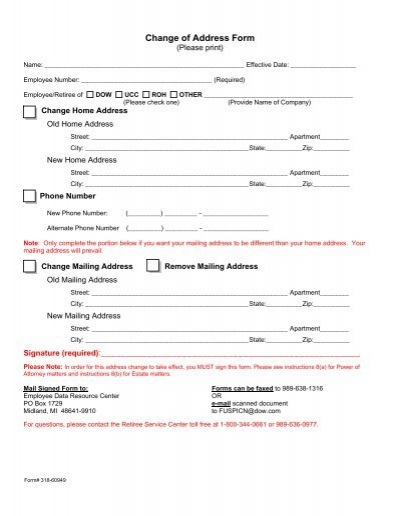 Change of Address Form Signature required The Dow Chemical – Print Change of Address Form