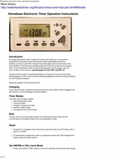 homebase electronic timer instructions
