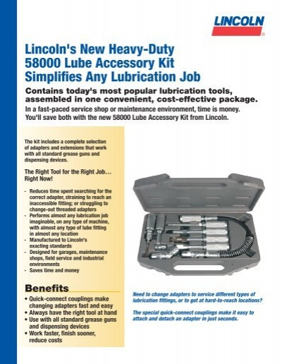 58000 Grease Gun Accessory Set Lincoln Industrial Corp