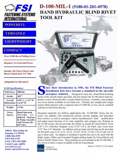 d-100-mil-1 (5180-01-201-4978) hand hydraulic blind rivet tool kit