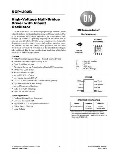 NCP1392B High-Voltage Half-Bridge Driver with Inbuilt Oscillator