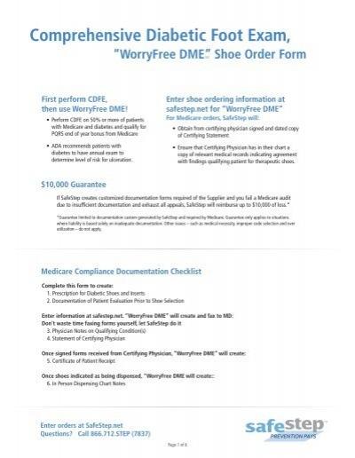 "Comprehensive Diabetic Foot Exam, ""WorryFree DME"" - Safe Step"