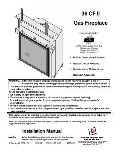 36 Cf Ii Gas Fireplace Travis Industries Dealer Services
