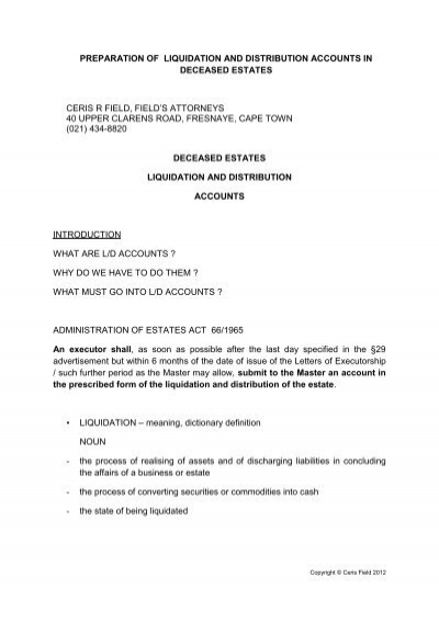 Preparation Of Liquidation And Distribution Accounts