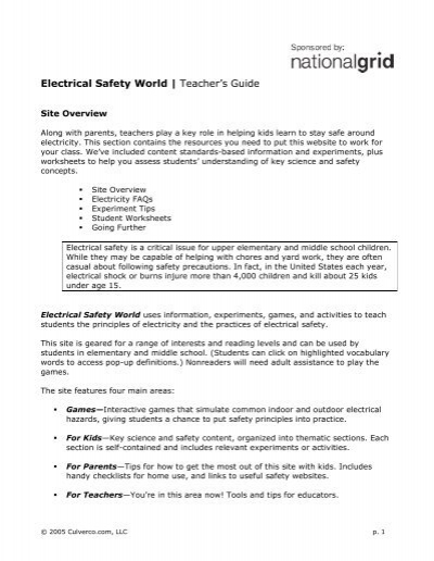 Electrical Safety World Teacher\u0027s Guide Energy Education L Home Electrical Safety Electrical Safety World Teacher\u0027s Guide Energy Education L