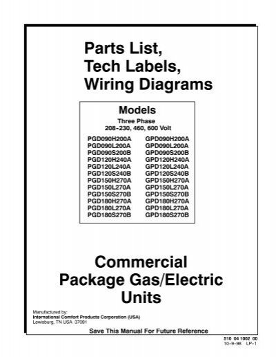 commercial package gas  electric units parts list  tech
